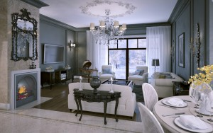 Interior living room in classic style