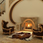 Armchairs by fireplace in modern interior