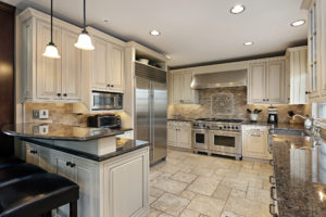 Upscale kitchen with breakfast bar